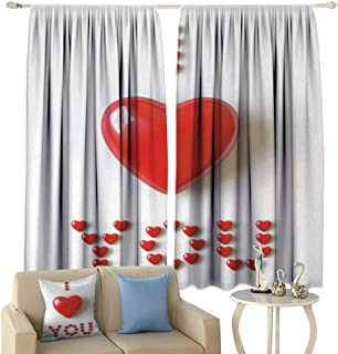 HoBeauty I Love You, Window Curtain Drape, 3D Illustration of a Heart Lays in Between Words Made with Heart Shaped Font, Customized Curtains,(W72 x L45 Inch, Red White