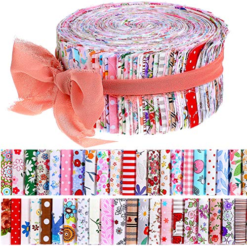 50 Pieces Fabric Strips Roll 2.4 Inch Collection Jelly Fabric Bundles Fabric Quilting Strips Roll Up Flower Precut Patchwork Fabric Strips with Assorted Patterns for DIY Crafts Sewing Favors