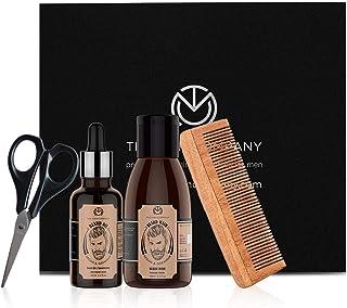 THE MAN COMPANY Beard Grooming Kit for Beard Growth with Argan & Geranium - Natural Beard Oil (50ml), Beard Wash (100ml), ...