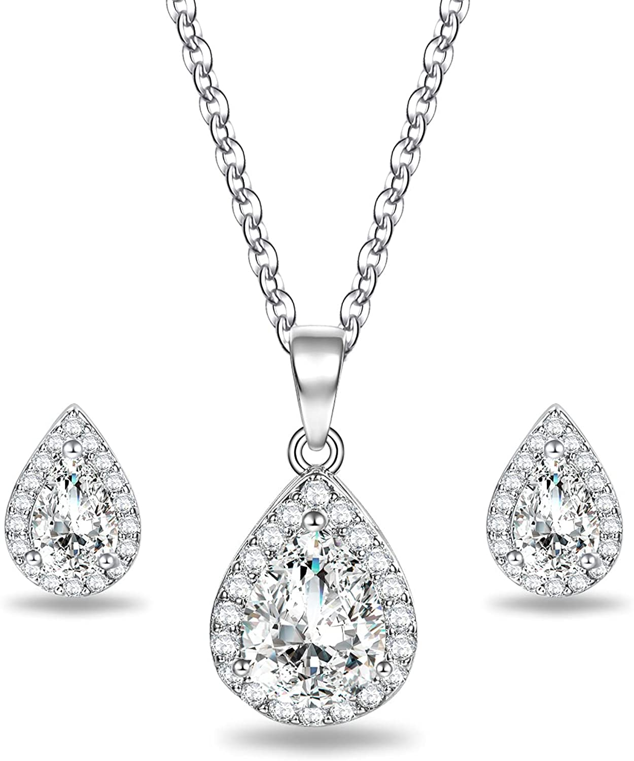 18K White Gold Plated Women Pear Shaped Cubic Zirconia Halo CZ Teardrop Pendant Necklace and Stud Earrings Jewelry Set for WeddingBridal Bridesmaids