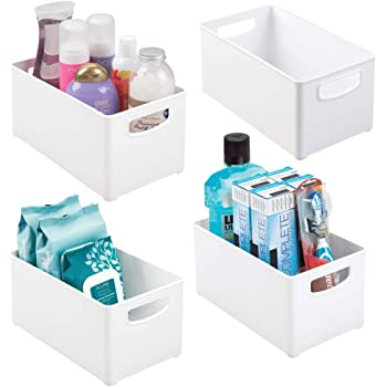 """mDesign Deep Plastic Storage Bin with Handles for Organizing Hand Soaps, Body Wash, Shampoos, Lotion, Conditioners, Hand Towels, Hair Accessories, Body Spray, Mouthwash - 10"""" Long, 4 Pack - White"""