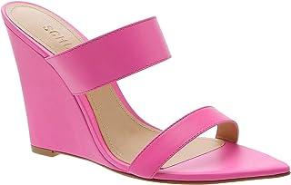 SCHUTZ Women's Soraya Pointed Toe Heeled Slip On Wedge Mule, Neon Pink