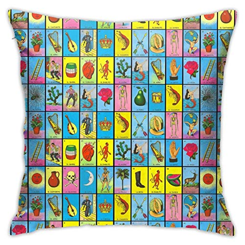 wteqofy 54 Cartas De La Loteria Mexicana,Pillow Case Cushion Cases Stylish Comfortable Thanksgiving Mom Living Room Couches for Fall Home Decor 18inch*18inch