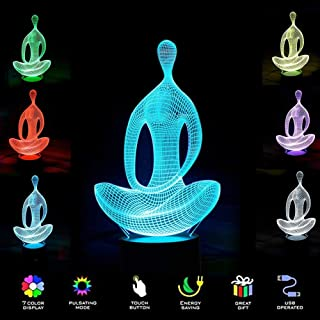 3D Illusion Birthday Gift Lamp - Modern Yoga Mood Lamp - 3D Night Light LED Desk Table Lamp 7 Color Changing Touch Switch Xmas Decoration Acrylic Flat & ABS Base & USB Cable, Creative Gift