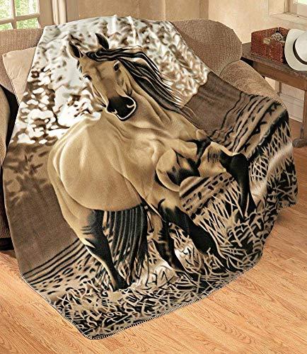 Western Gallopping Horse Soft Fleece Throw Blanket - Polyester 63'x73' Oversized