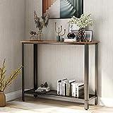 Mesa de consola BTM retro industrial para entrada con estante de malla ajustable para el hogar, negro y madera natural