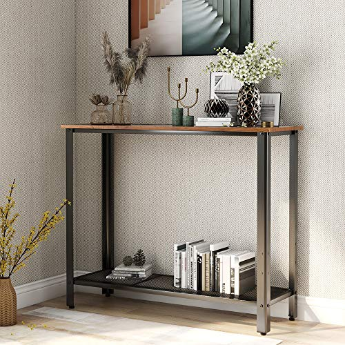 BTM Console Table, Retro Industrial Entryway Table with Adjustable Mesh Shelf for Home, Black/Natural Wood