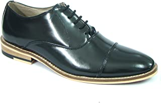 ASM Pure Leather Formal Black Oxford Shoes with Leather Upper, Leather Insole, Fully Leather Lining, Handmade Neolite Sole and Memory Foam Cushioning for Boys/Mens by