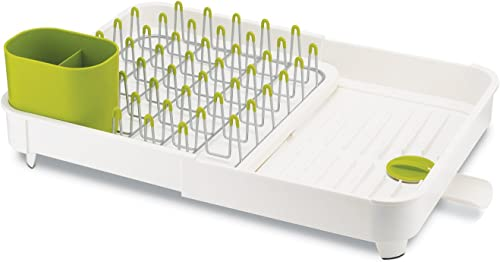 lowest Joseph Joseph 85071 Extend Expandable Dish Drying popular Rack and Drainboard Set Foldaway Integrated Spout Drainer Removable discount Steel Rack and Cutlery Holder, White,White/Green - Plastic online sale
