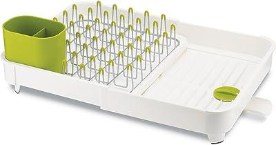 Joseph Joseph 85040 - Set de escurreplatos Extensible y escurridor, con desagüe de Boquilla integrada Plegable (Rejilla extraíble de Acero y Organizador de Cubiertos), Blanco, 1
