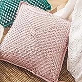 FANLLOOD Funda de cojín Hecha a Mano 42x42cm Crochet Vintage sólido Amarillo Rosa Verde Crema Funda de Almohada para decoración del hogar, Rosa