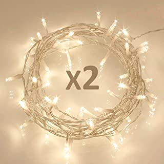 Koopower [ 2 Pack ] 50 LED Outdoor [Timer] Battery Fairy Lights on 5M String Cable - (8 Modes, 120 Hours of Lighting, Warm...