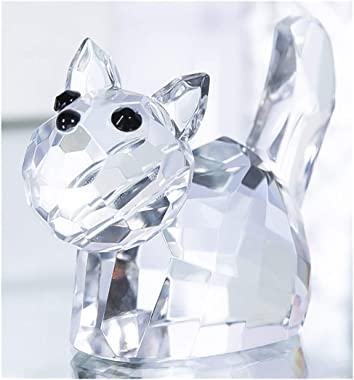 Qf Animal Crystal Cat Figurines Collectibles Cut Glass Crystal Ornament Sculpture