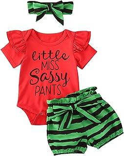 Multitrust Newborn Baby Girl Cotton Ruffled Short Sleeve Bodysuit Tops + Floral Shorts Baby Clothes Set