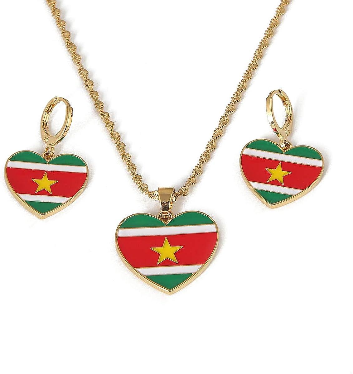 Ranking TOP4 Dealing full price reduction Stainless Steel Ghana Flag Pendant Co Earrings Ghanaian Necklace