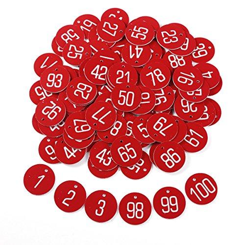 100pcs Etiqueta Roja Plástica Grabado Números Identificador para Llaves Armarios de llaves Cajones Gimnasio Oficina CON LLAVERO