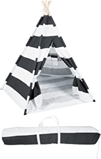 6' Canvas and Pine Wood Teepee With Carry Case - Playful Stripes - By Trademark Innovations (Black Stripes)