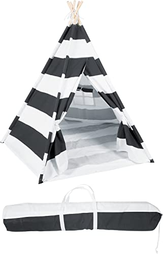 Canvas Teepee 6' With Carrycase -Playful schwarz Stripes - by Trademark Innovations by Trademark Innovations