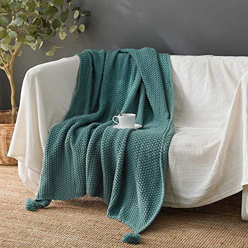 Gebreide Tassel Throw Blanket 100% Katoen met Pompoms zachte warme Knit Gehaakte Deken voor Couch Sofa Beach Chair Bed Woondecoraties, 130x170cm,Green