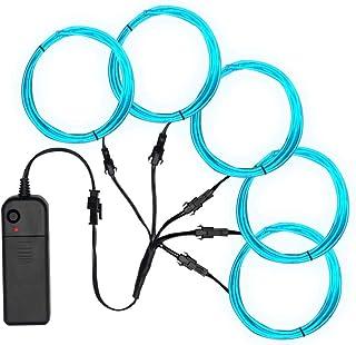 SZILBZ 5 x 1m Lichtschnur Leuchtschnur, EL Wire neon kabel Lichtband Lichtleiste Streifen für Halloween Weihnachtsfeiern N...