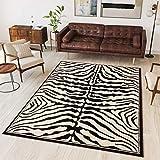 Tapiso Alfombra Colección Atlas | Salón Piso Cuarto De Estar | Color Negro | Diseño Decorativo Animal Cebra | De Fácil Cuidado 300 x 400 cm