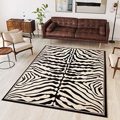 Tapiso® Alfombra Colección Atlas | Salón Piso Cuarto De Estar | Color Negro | Diseño Decorativo Animal Cebra | De Fácil Cuidado 250 x 300 cm
