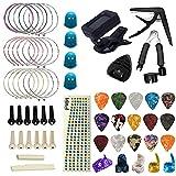 Gobesty Kit de Accesorios de Guitarra, 61 piezas Incluye Puente de Guitarra,Afinador de Guitarra,Cuerdas para Guitarra Acústica,Capo,Púas Para Guitarra,Protector de Dedos Guitarra para Principiantes