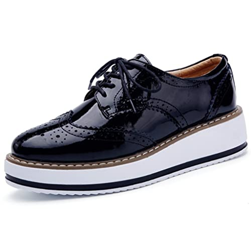 DADAWEN Womens Platform Lace-Up Wingtips Square Toe Oxfords Shoe
