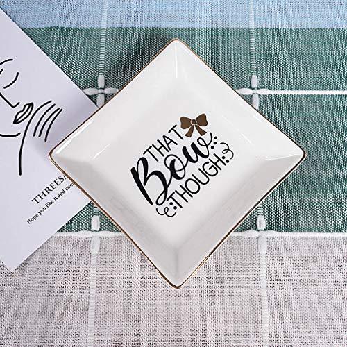 Funyo - Plato de cerámica para platos, platos, platos, platos, cactus, cactus, bandeja pequeña decorativa para joyas, Aunque ese arco