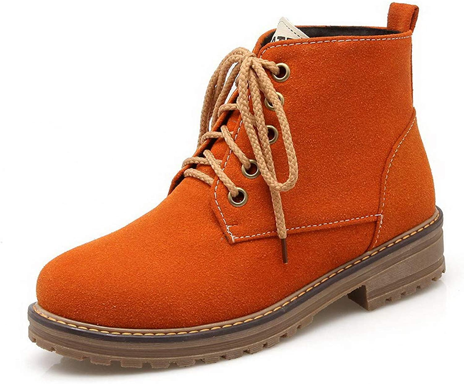 WeiPoot Women's Low-Top Solid Lace-Up Closed-Toe Low-Heels Boots, EGHXH014480