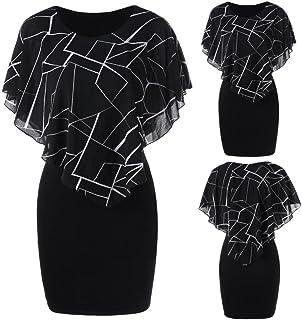 7e6a1fac56f Maonet Women Casual Printed Double Layered Irregular Short Sleeve Sheath  Mini Dress