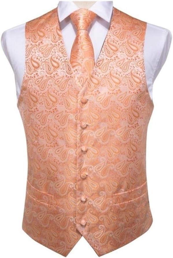 QWERBAM Wedding Max 72% OFF Men Silk Waistcoat Cufflinks Ties Vest Hanky Cra Elegant