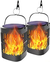Ollivage Hanging Solar Lights, Dancing Flame Solar Lights Outdoor Hanging Lanterns, Solar Powered Torch Lights and USB Charging Solar Flame Landscape Lights for Garden Patio Deck Yard Path, 2 Pack