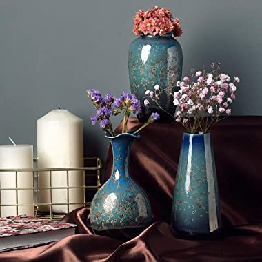 Ceramic Flower Vases Set of 3, Special Design Style of Flambed Glazed,Decorative Modern Floral Vase for Home Decor Living Roo