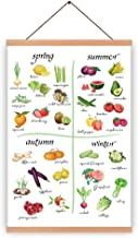 HPNIUB Natural Wood Magnetic Hanger Frame Poster-Fruit Vegetable Canvas Art Spring Summer Autumn Winter Prints Food Painti...