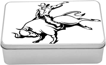 Ambesonne Rodeo Tin Box, Cowboy Riding a Wild Bull Minimalist Folklore Old West Extreme Sports, Portable Rectangle Metal Organizer Storage Box with Lid, 7.2