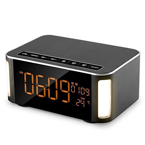 """Stereo Wireless Speaker for Office Temperature Travel USB Charging 3 Alarm Sets with Snooze Humidity Bluetooth Speaker with Alarm Clock ℃//℉ Home 5.7/"""" LED Dimmer Display 12//24 Hr Time"""