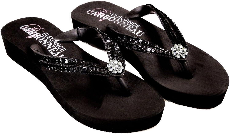 Elegance by Carbonneau Summer Women's Low Heel Flip Flop Black Foam Rubber Sandal