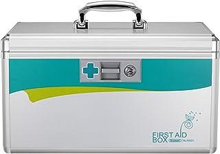 Glosen First-Aid Box Metal Medication and Prescription Drugs Storage Box (Silver)
