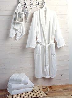 Musbury Pack Of Two Fabrics Hotel & Spa Quality Luxury Bathrobes 400gms 100% Cotton - White