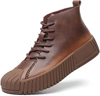 Sunny&Baby Ankle Boots for Men Work Boot Lace up Genuine Leather Collision Avoidance Toe Wear Resistant Rubber Sole Platform Non-Slip Durable (Color : Brown, Size : 6 UK)