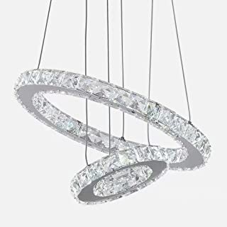 Chandelier, Modern LED Crystal Chandelier 2-Ring 36W Transparent Non-dimmable Crystal Chandelier for Dining Room Living Ro...