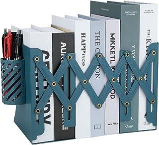 Serre-Livres Décoratif Réglable en Métal Livre en Métal Étagère Organisateur Étagère Presse Livre avec Porte-Stylo Amovibl...