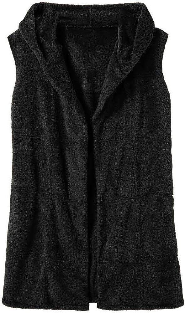 FoegetMe Womens Hoodies Gilets Overcoat Faux Fur Fleece Thick Cardigans Outwear Fashion Trend Warm-Up Sleeveless Waistcoat Vest Cardigan Warm Hooded Jacket Coat Plain Shaggy Body Warmer