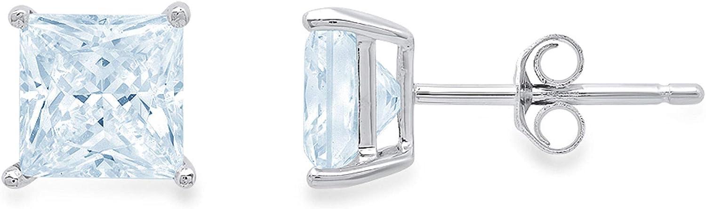 3.94cttw Brilliant Princess Cut Solitaire Flawless Genuine Swiss Blue Topaz Gemstone Unisex Pair of Designer Stud Earrings Solid 14k White Gold Push Back
