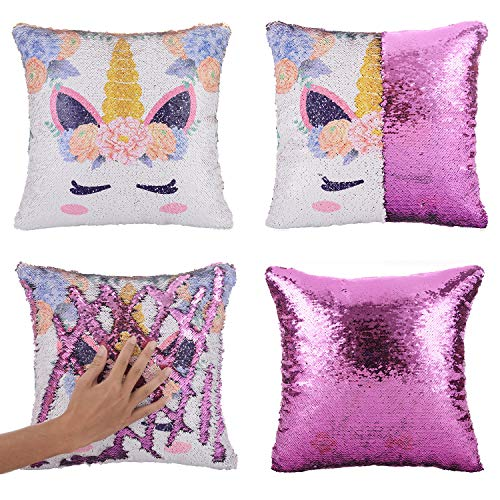 Merrycolor Mermaid Pillow Cover, Unicorn Gifts for Girls Sequin Pillow Cover Throw...