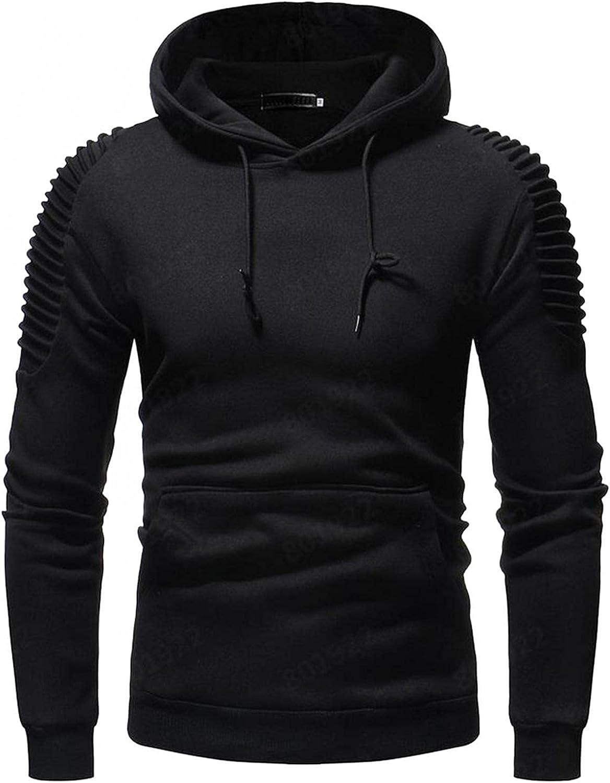 Hoodies for Men Fashion Mens Athletic Hoodies Sport Sweatshirt Striped Pleated Raglan Long Sleeve Fleece Pullover