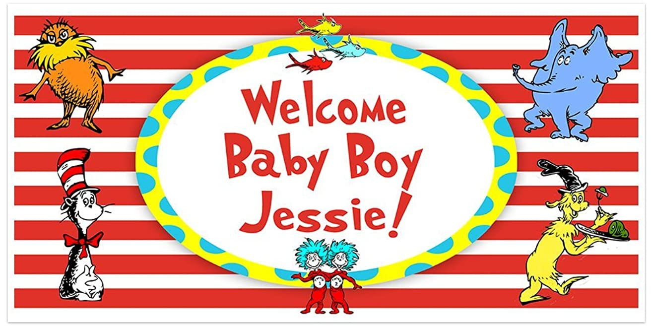 Dr. Seuss Cat in the Hat Baby Shower Banner Personalized Party Backdrop Decoration