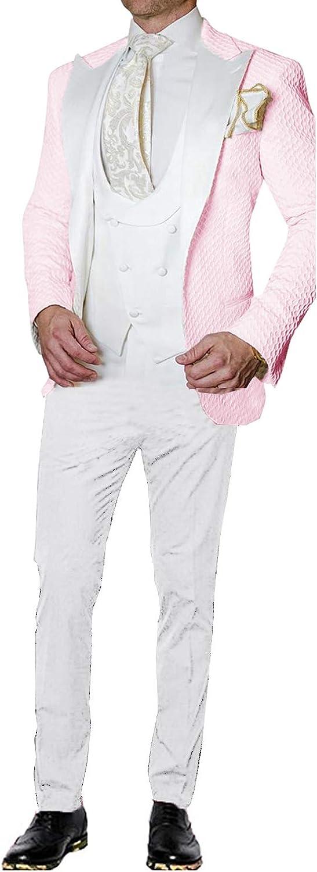 UMISS Hombre Traje de Tres Piezas con Esmoquin Tipo gofre Que Incluye Chaleco y Pantalones