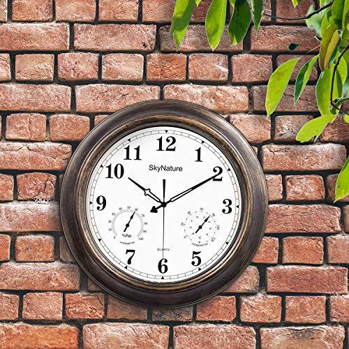 SkyNature Wanduhr für den Außenbereich, 45 cm, wasserdicht, mit Thermometer und Hygrometer, Vintage-Stil, dekorative Uhr für Garten, Zaun, Terrasse, Metall, bronzefarben